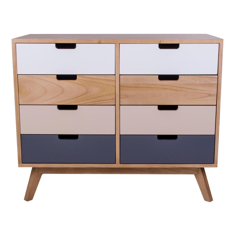 Farebná drevená komoda s 8 zásuvkami House Nordic Milano