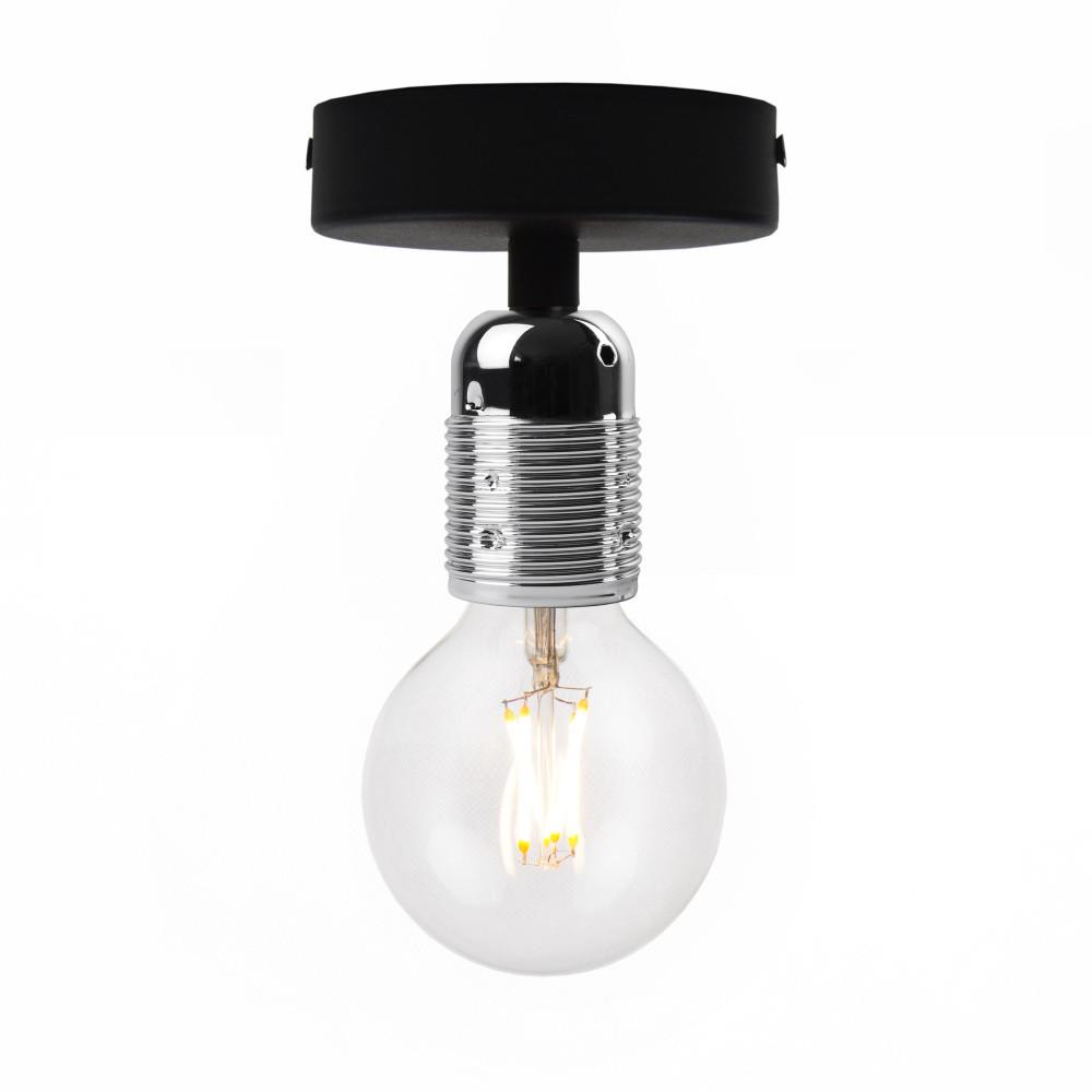 Čierne stropné svietidlo so striebornou objímkou Bulb Attack Uno Basic