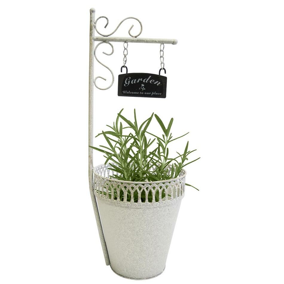 Kovový kvetináč s ceduľkou Garden, 20 x 55 cm