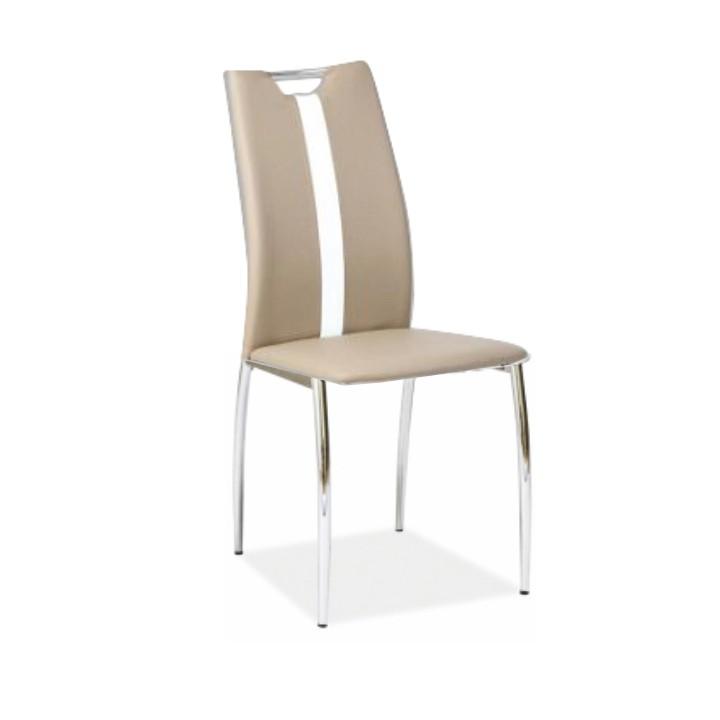 Stolička, béžová/biela ekokoža + chrom nohy, SIGNA