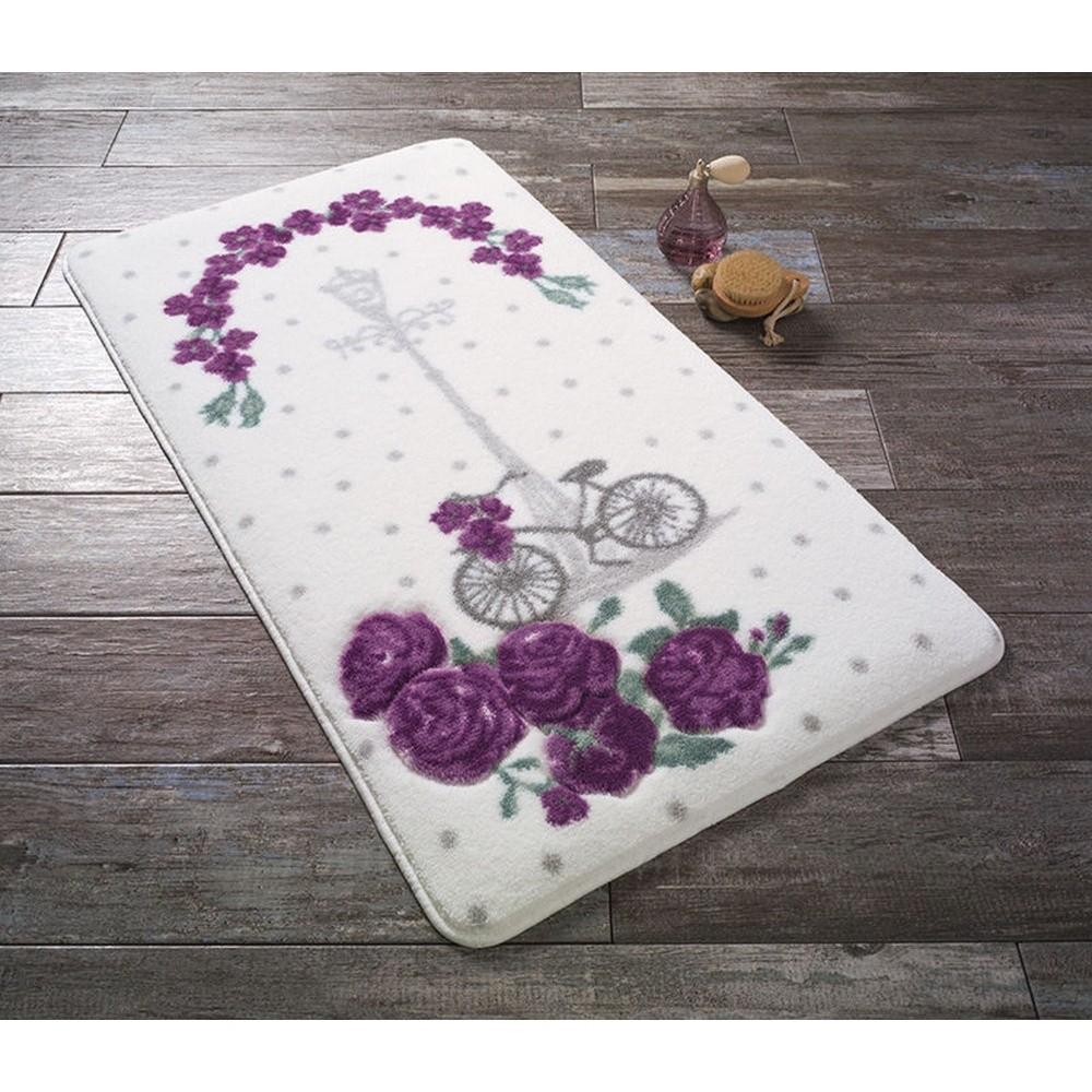 Biela predložka do kúpeľne s fialovými kvetinkami Confetti Bathmats Vintage Bike, 57 x 100 cm