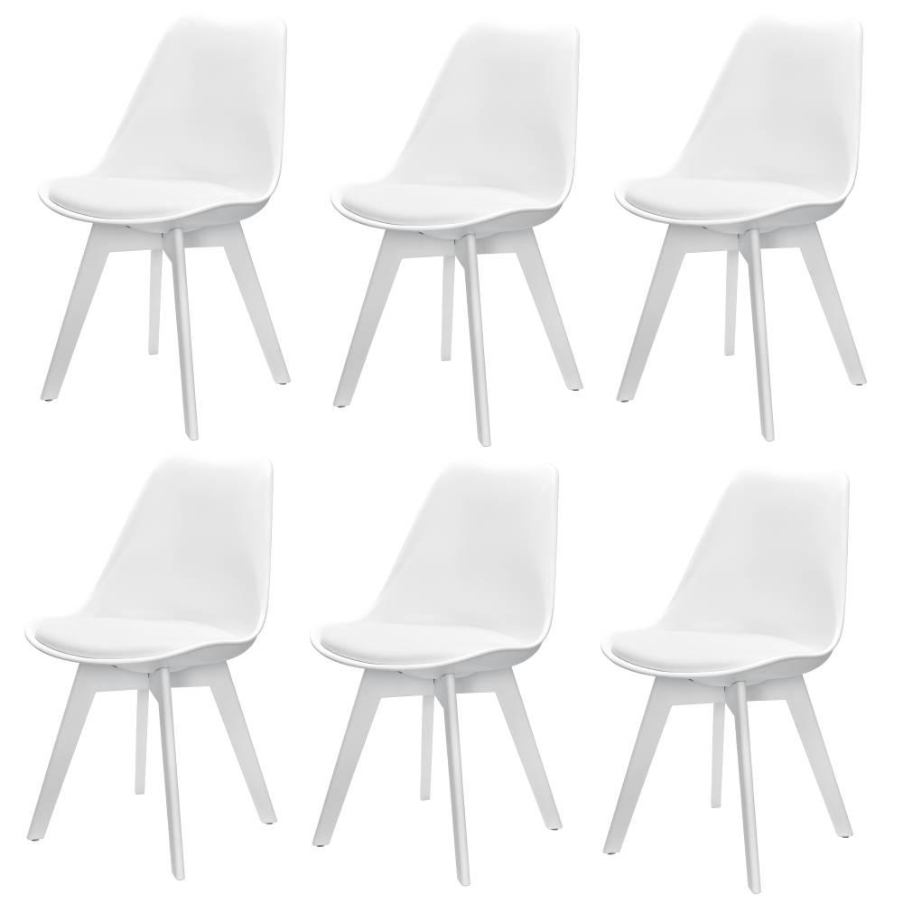 [en.casa]® Dizajnová stolička - 6 ks sada - 83 x 48 cm - biela