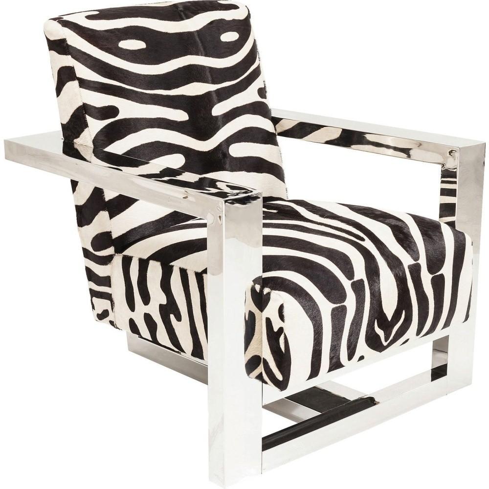 Kreslo s poťahom s rebrovanými vzorom Kare Design Wildlife Zebra