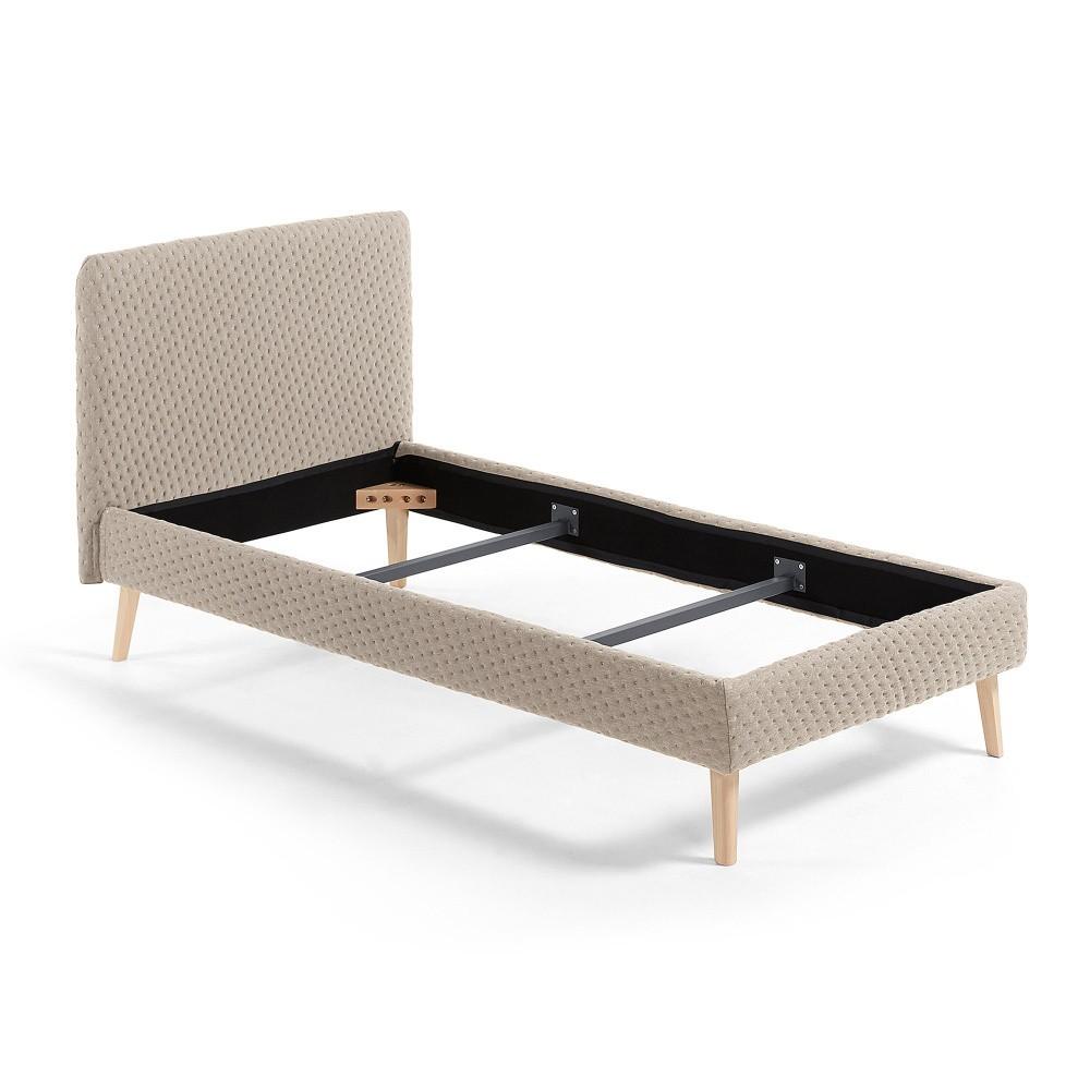 Béžová jednolôžková čalúnená posteľ La Forma Lydia Dotted, 190×90cm
