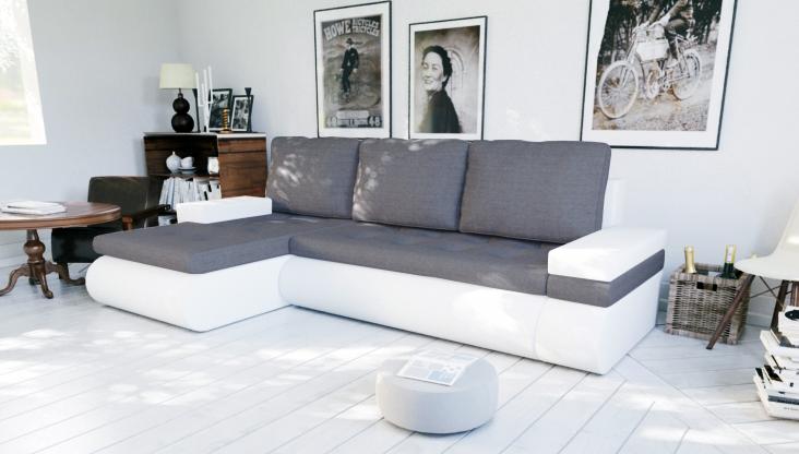 Moderná sedačka NEWYORK tmavošedá/biela