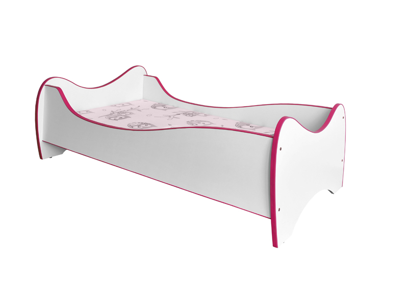 Jednolôžková posteľ 80 cm Duo (biela + ružová) (s roštom a matracom)