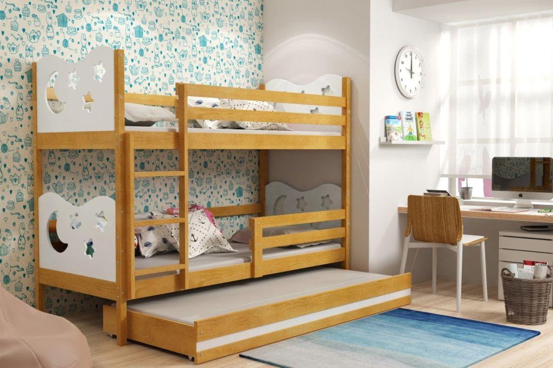 Poschodová posteľ KAMIL 3 + matrac + rošt ZADARMO, 90x200, jelša/biela