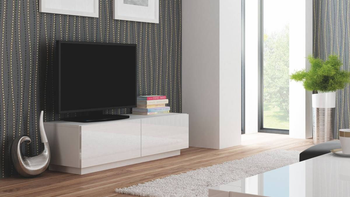 TV stolík/skrinka Livo RTV-160S (biela + lesk biely)