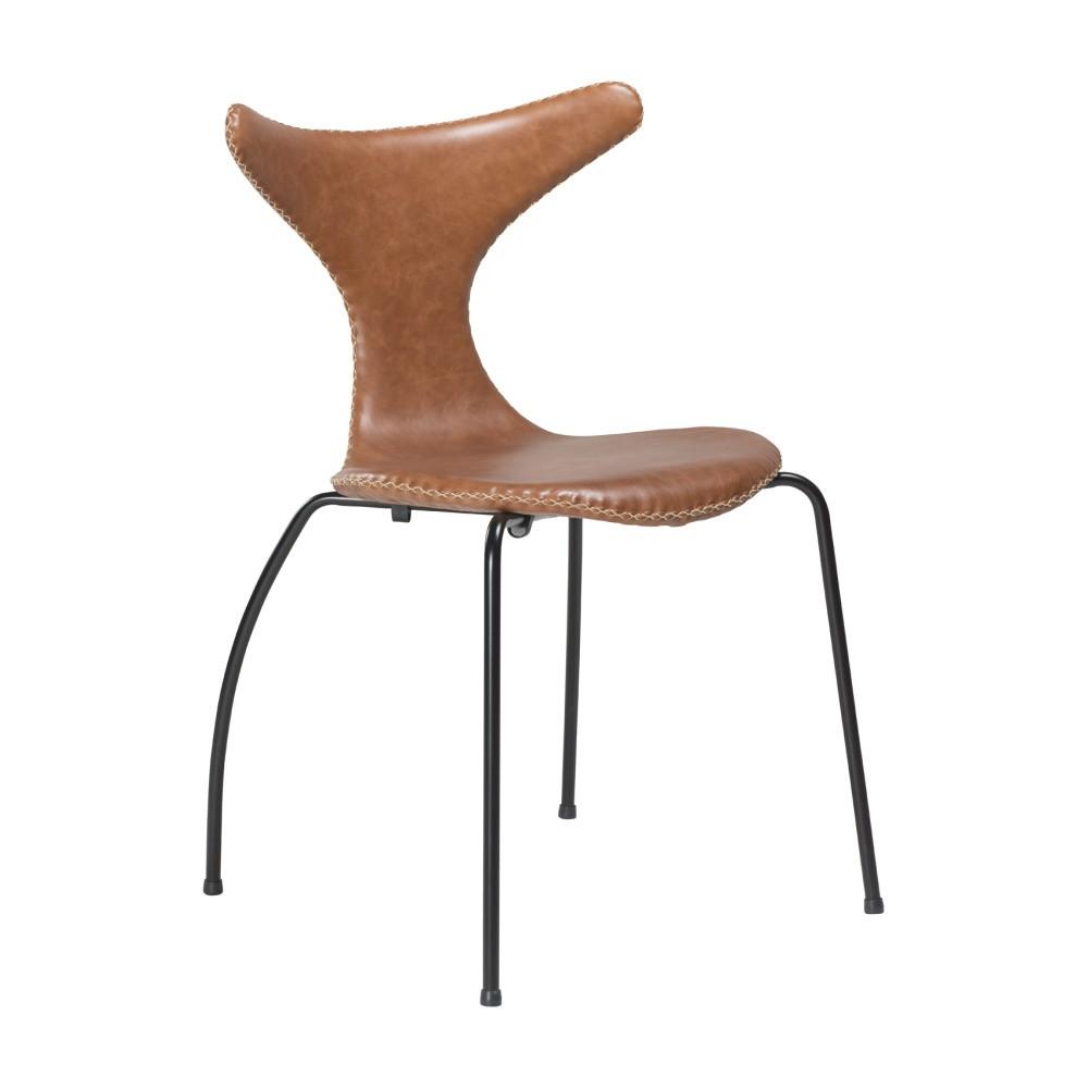 Hnedá kožená jedálenská stolička s čiernou kovovou podnožou DAN–FORM Dolphin