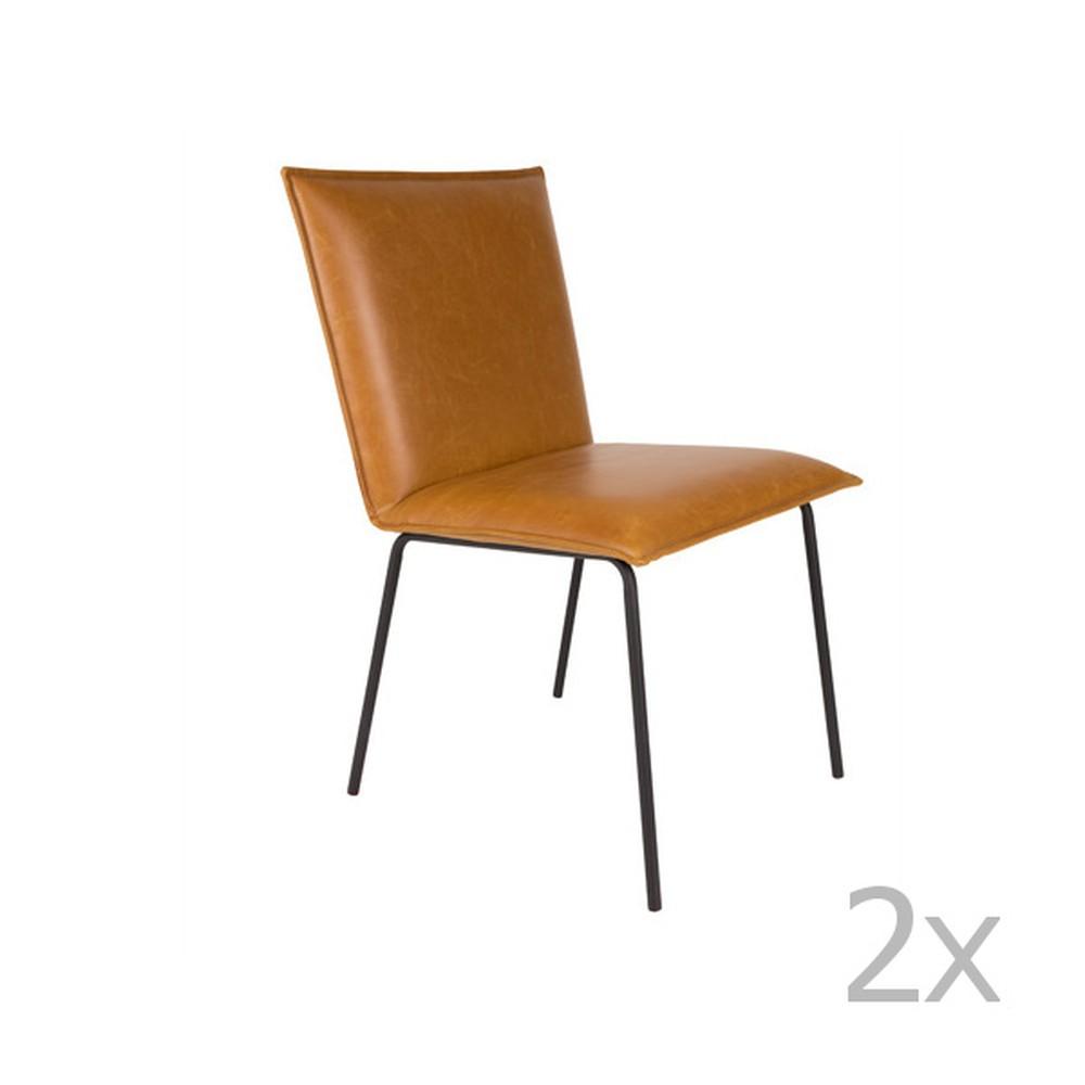 Sada 2 hnedých stoličiek White Label Floke