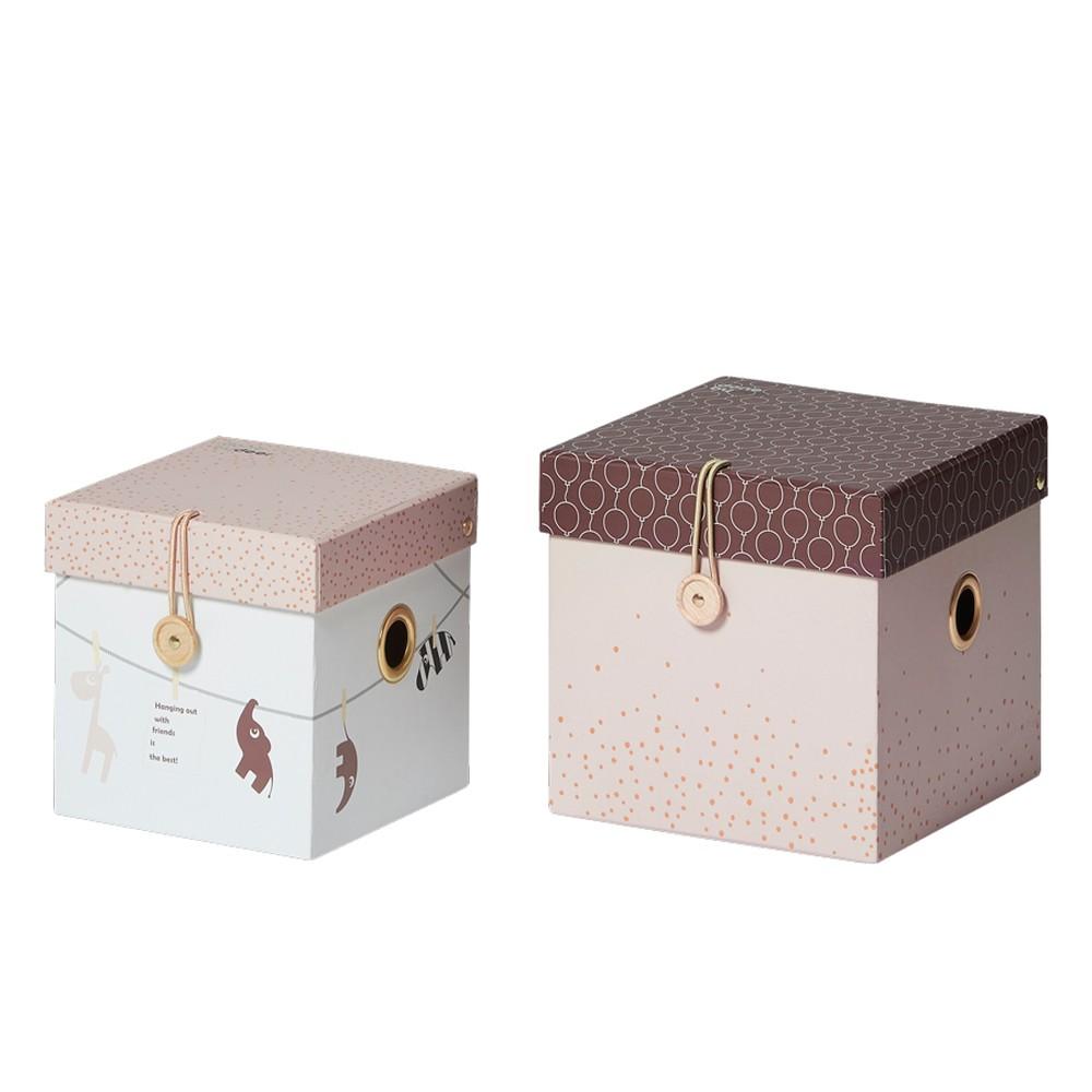 Sada 2 ružových úložných boxov Done by Der