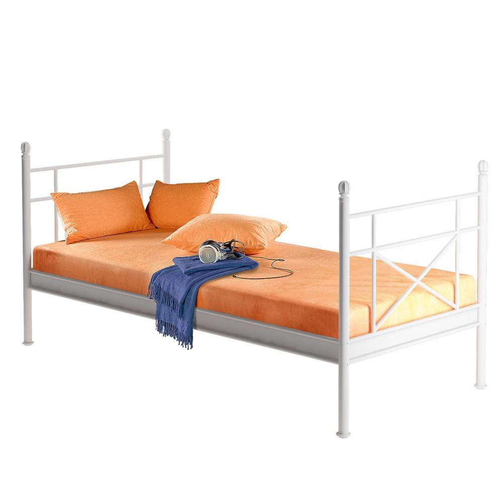 Biela kovová jednolôžková posteľ Støraa Tanja, 90 x 200 cm