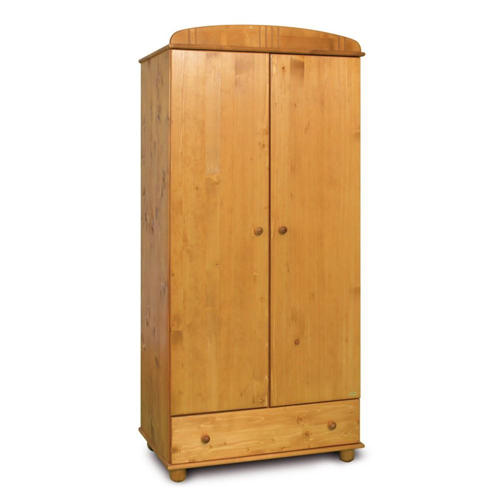 Dvojdverová šatníková skriňa z borovicového dreva Faktum Tomi