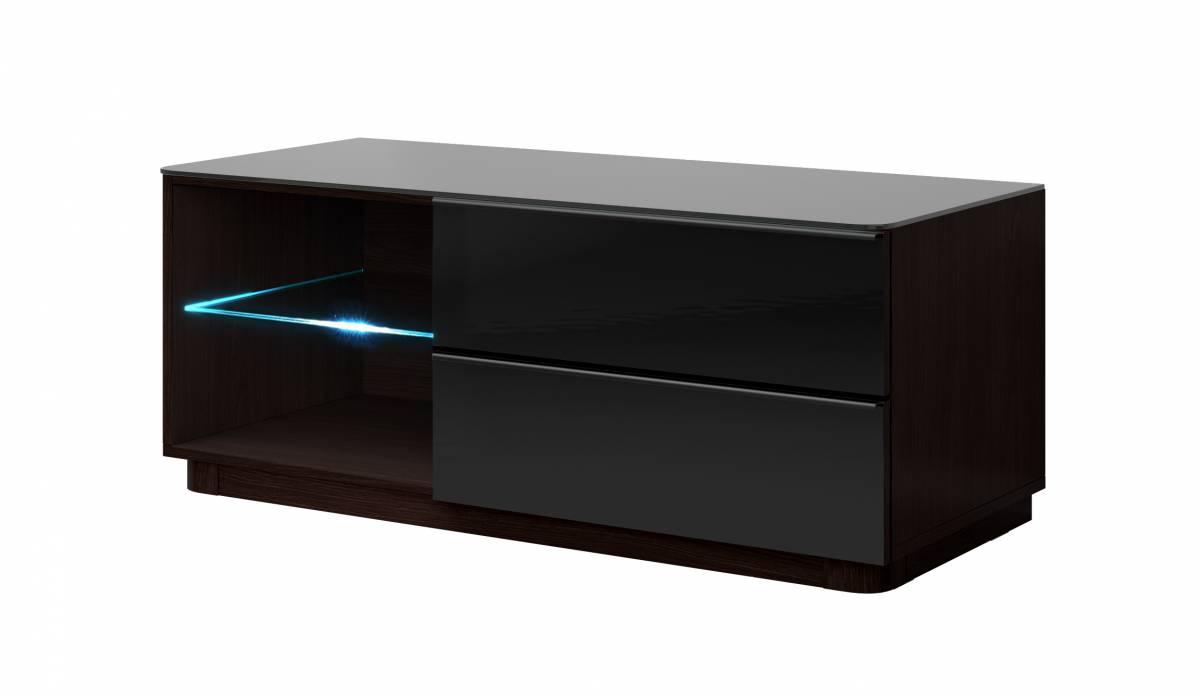 TV stolík/skrinka Typ 41 (wenge + čierne sklo)