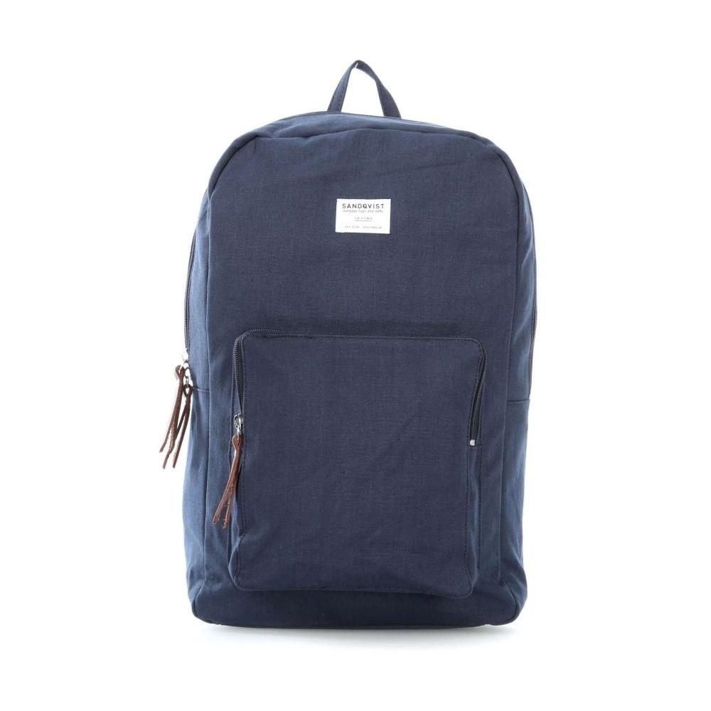 Tmavomodrý batoh s koženými detailmi Sandqvist Kim
