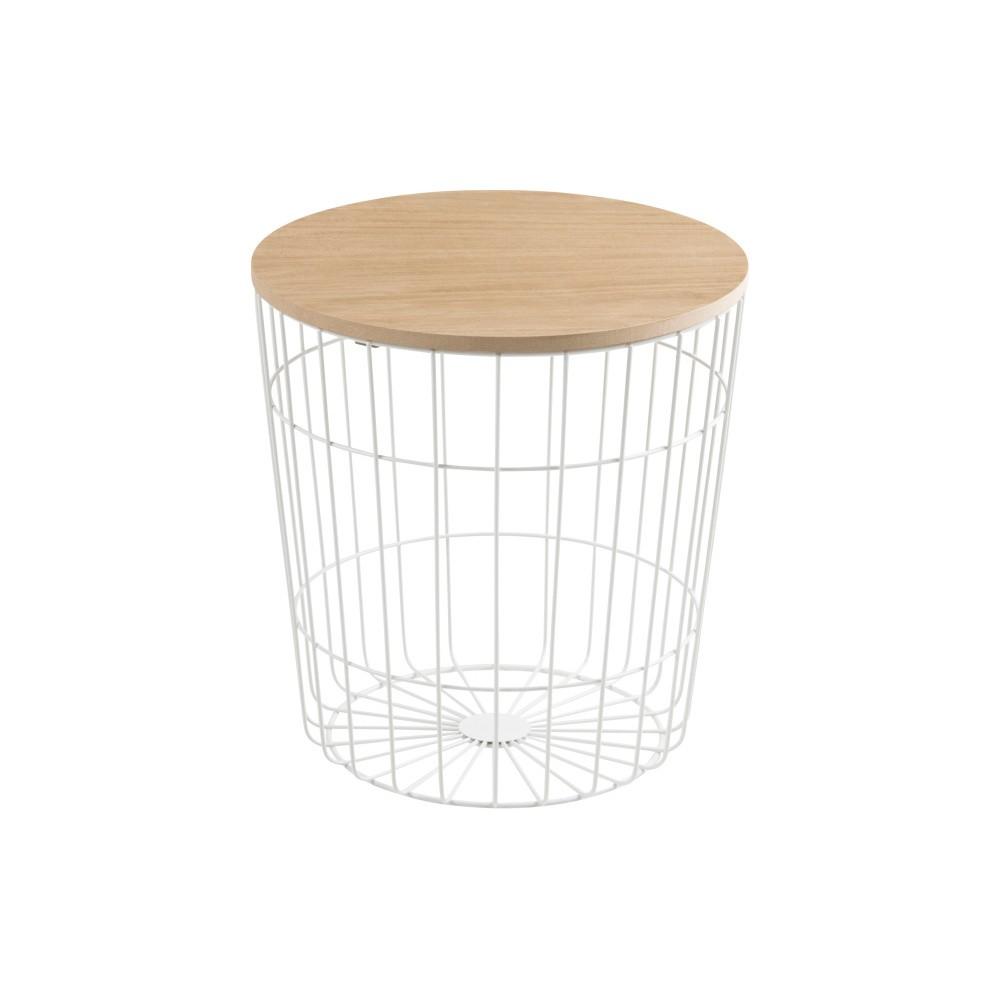 Biely odkladací stolík Actona Lotus Light, Ø 39 cm