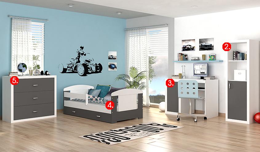 Detská izba FILIP COLOR / so zásuvkou   Farba: biela / sivá
