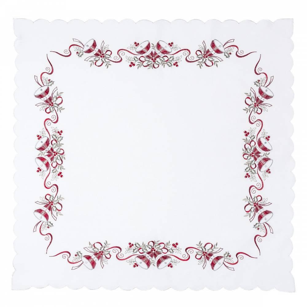 Forbyt Vianočný obrus Zvončeky biela, 85 x 85 cm
