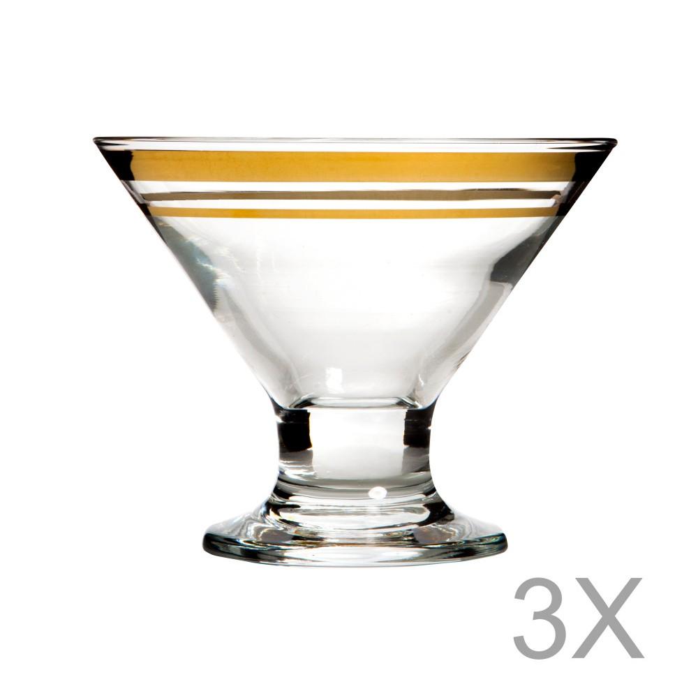 Sada 3 čírych pohárov s okrajom zlatej farby Mezzo Jack, 320 ml