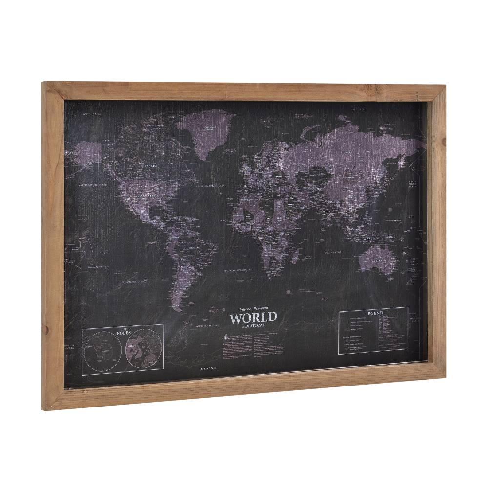[art.work] Dizajnový obraz na stenu - na striebornom PVC podklade   - mapa sveta - zarámovaný - 50x70x2,5 cm