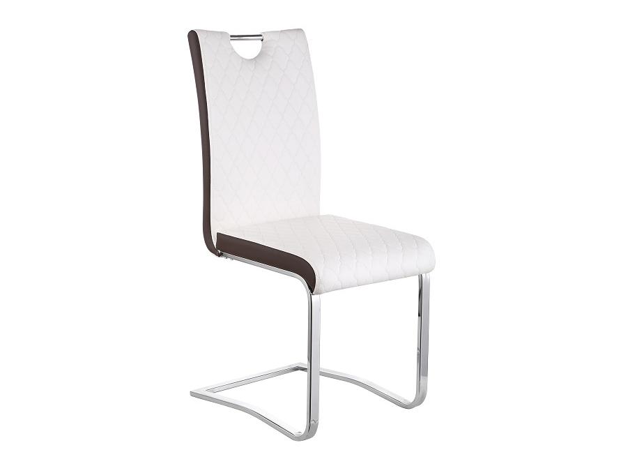 Jedálenská stolička Imane (biela + hnedá + chróm)