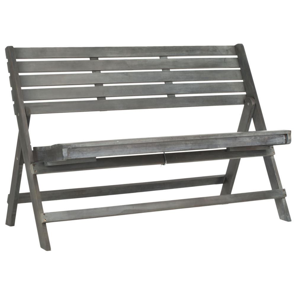 Sivá vonkajšia rozkladacia drevená lavica Safavieh Ferrat