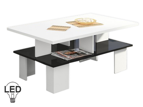 Konferenčný stolík Supra 2 (biela + lesk čierny)