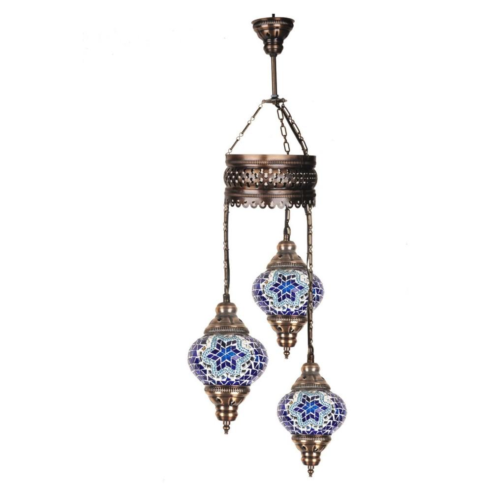 Trojitá sklenená závesná lampa Homemania Fudžarja, ⌀13cm