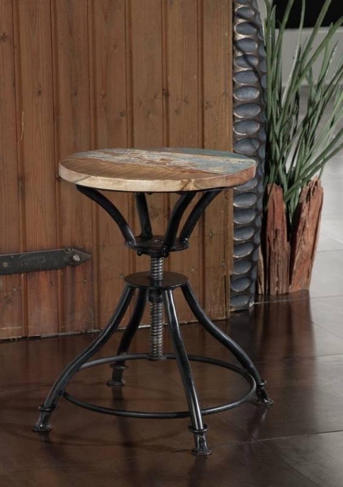 INDUSTRIAL otočná stolička/-taburetka #19, liatina a staré drevo