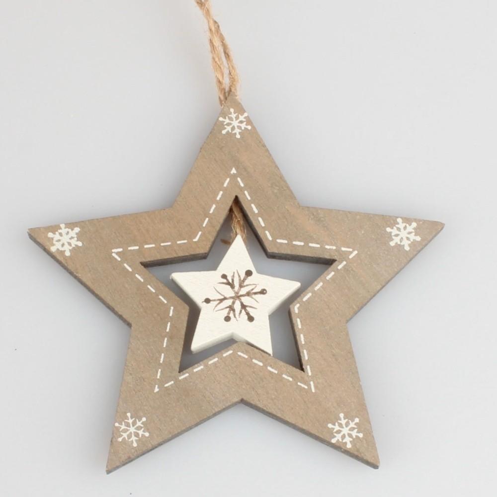 Hnedá závesná dekorácia v tvare hviezdy Dakls Star