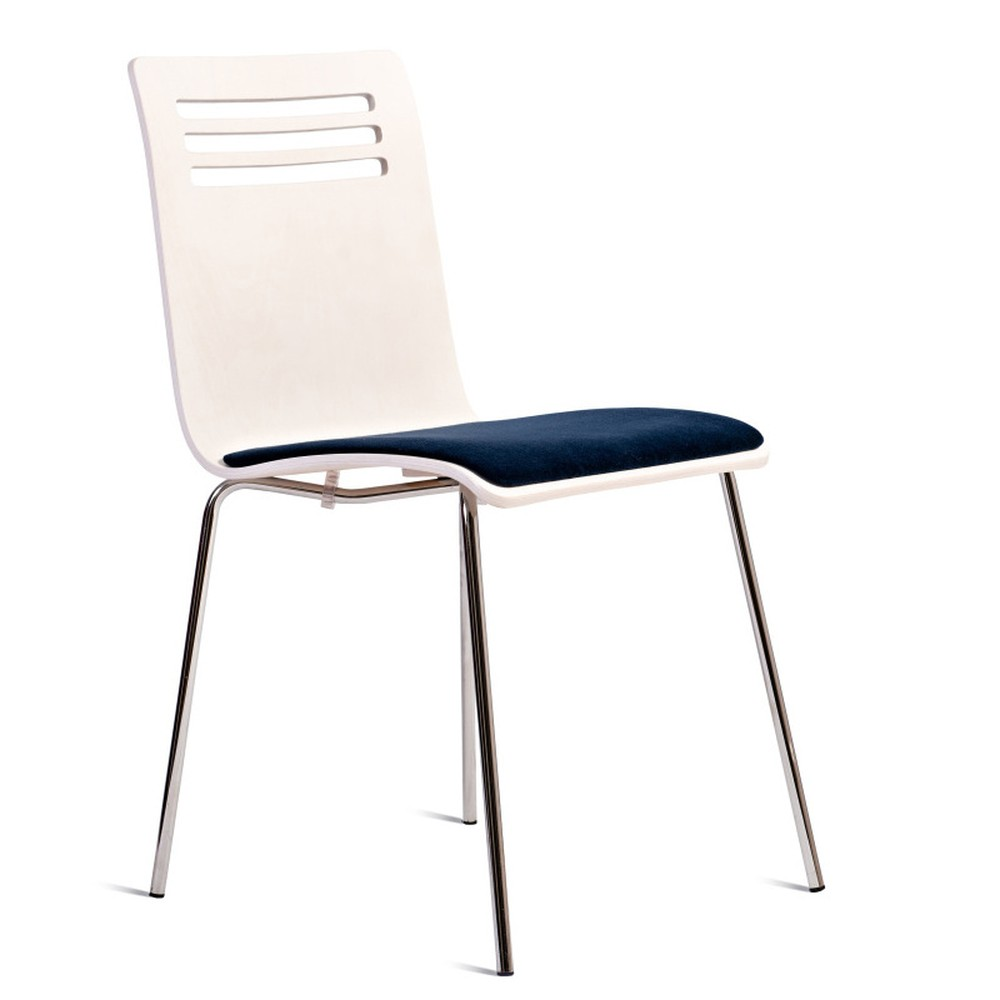 Biela stolička so sedákom z dubového dreva Charlie Pommier Comfort
