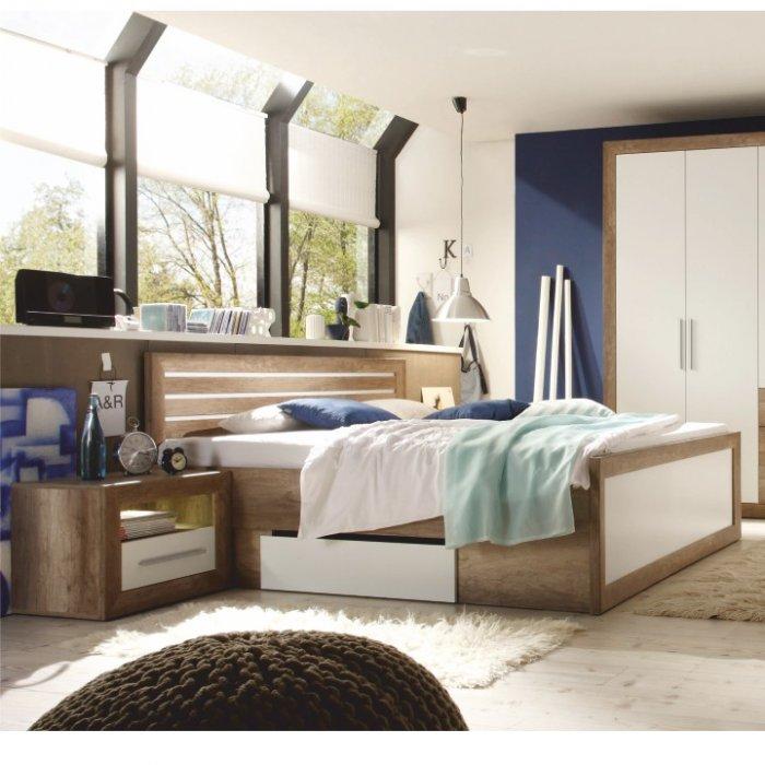 TEMPO KONDELA FERARA 180 manželská posteľ + 2x nočný stolík - dub monument / biela