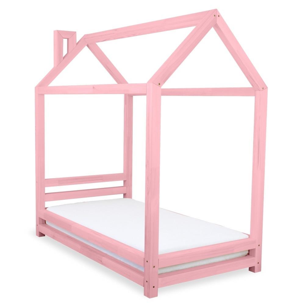 Detská ružová posteľ zborovicového dreva Benlemi Happy, 90x160cm