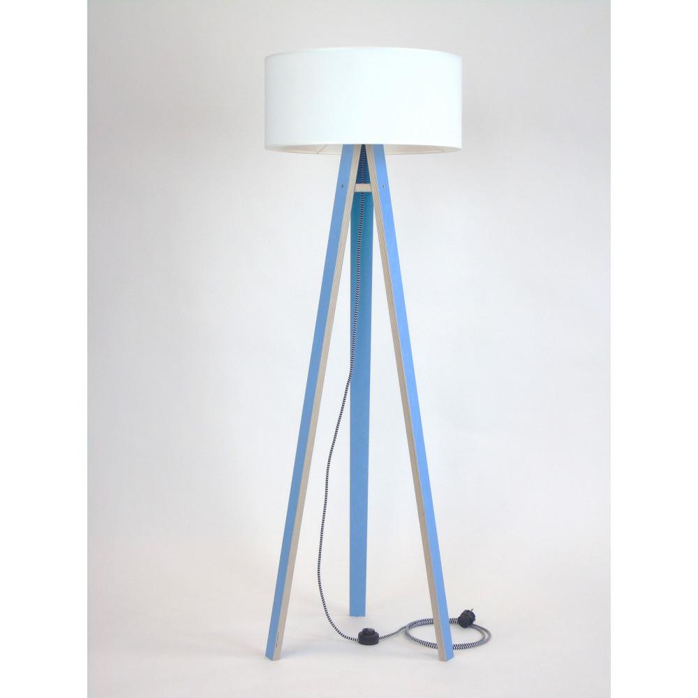 Modrá stojacia lampa s bielym tienidloma čierno-bielym káblom Ragaba Wanda