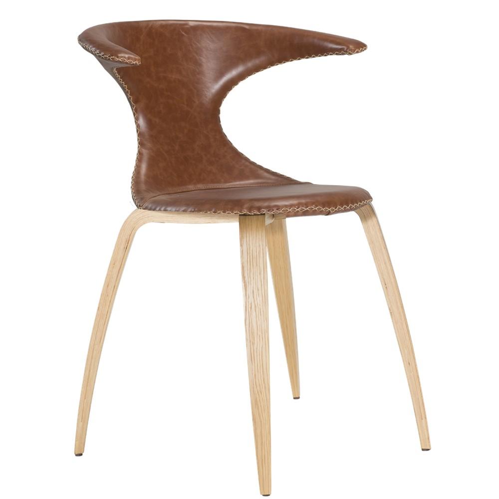 Hnedá kožená jedálenská stolička s prírodnou podnožou DAN–FORM Flair