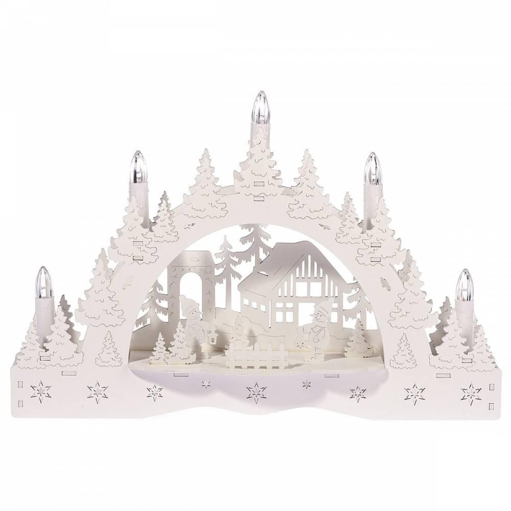 Vianočný LED svietnik Zimná krajina, chalúpka a snehuliak, 35 x 23 x 7,5 cm