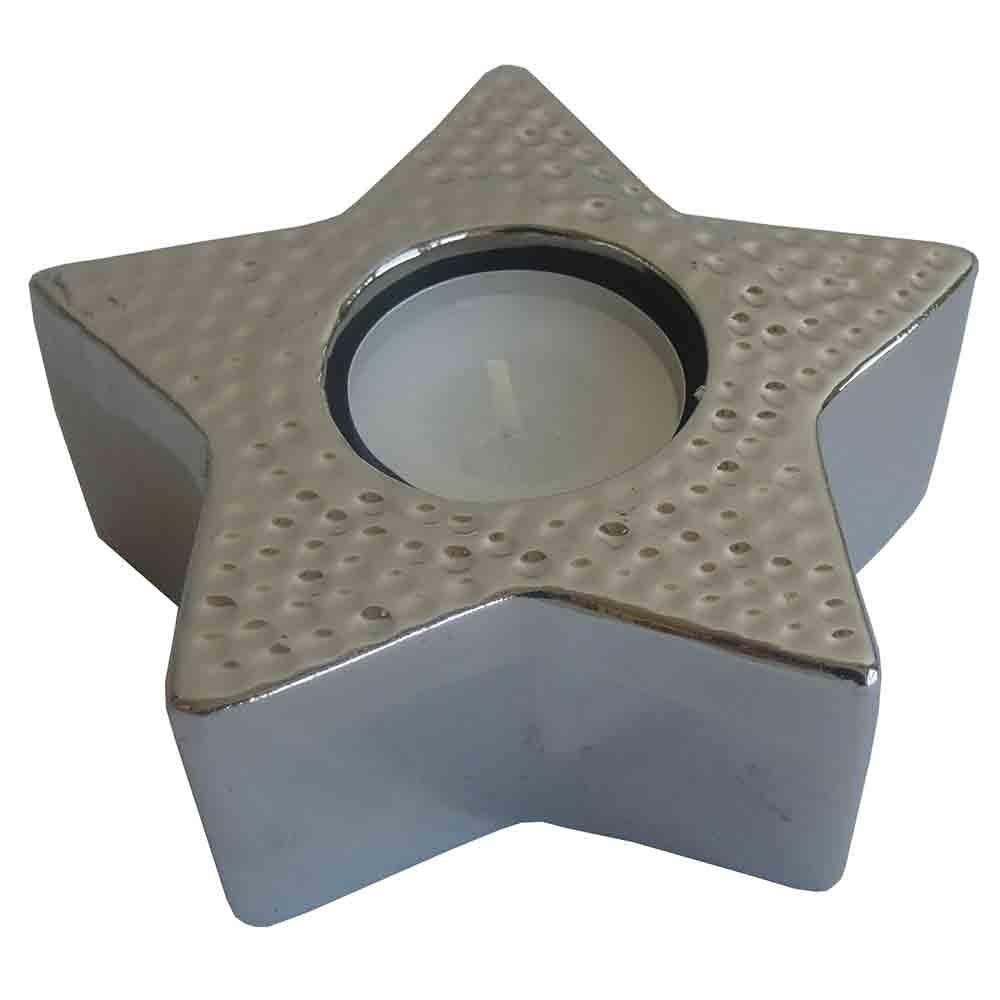 StarDeco Dekoratívny svietnik Hviezda strieborná, 11,5 cm