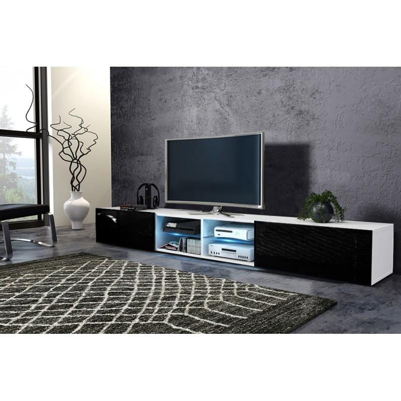 TV stolík/skrinka Best dvojitý (biela + lesk čierny)