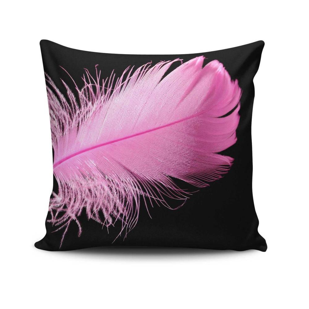 Vankúš s výplňou Gravel Pink Feather, 42x42cm