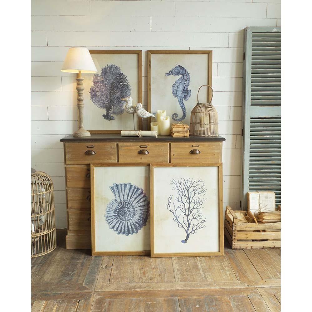 Set 4 obrazov v drevených rámoch Orchidea Milano Coastal
