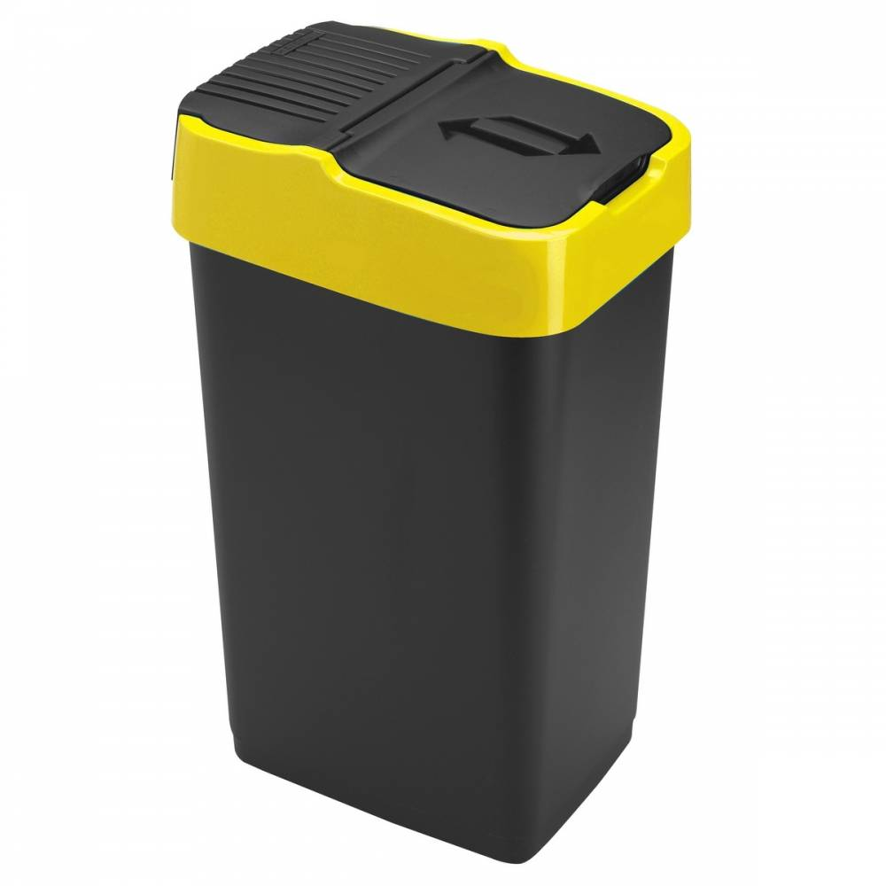 Heidrun Odpadkový kôš 35 l, čierny so žltým pruhom, 35 l