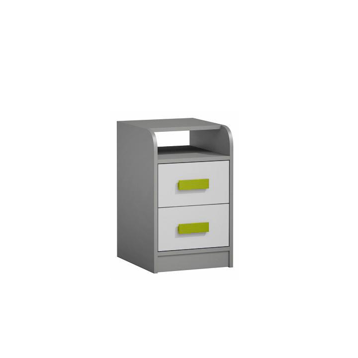 TEMPO KONDELA Kontajner k PC stolu, sivá/biela/zelená, PIERE P09
