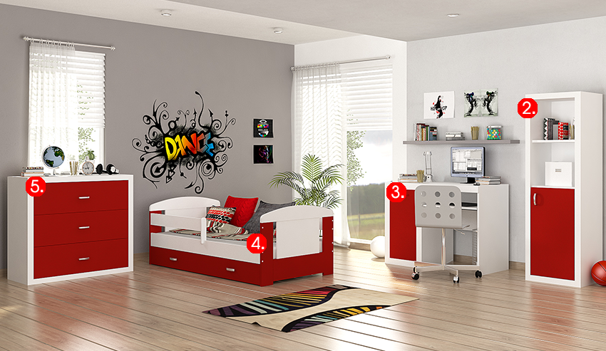 Detská izba FILIP COLOR / bez zásuvky   Farba: biela / červená