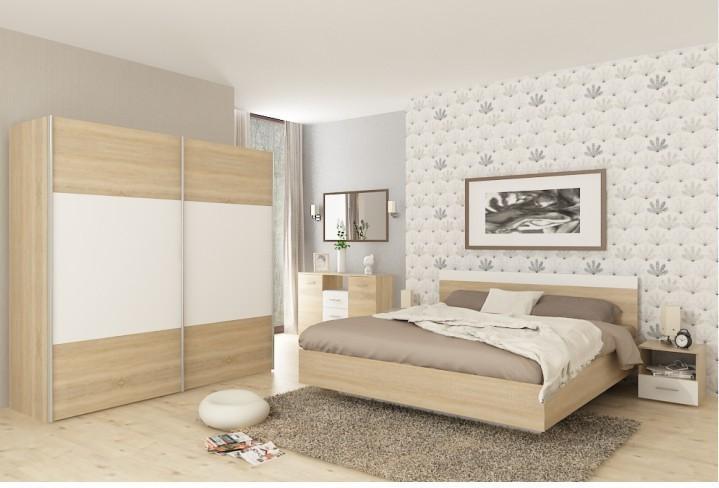 Spálňový komplet (skriňa+posteľ 180x200x, 2 x nočný stolík), dub sonoma/biela, GABRIELA