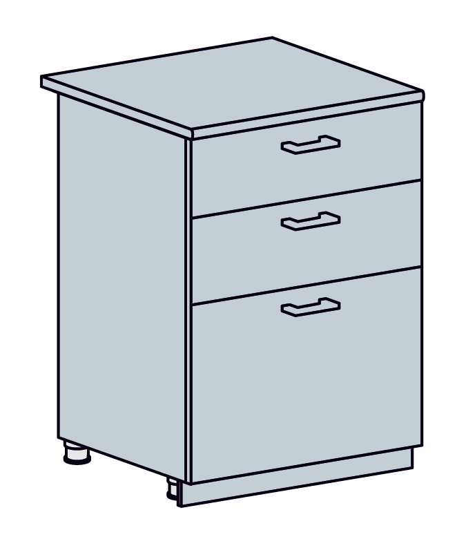 PRAHA dolná skrinka so zásuvkami 60D3S, biela/wenge