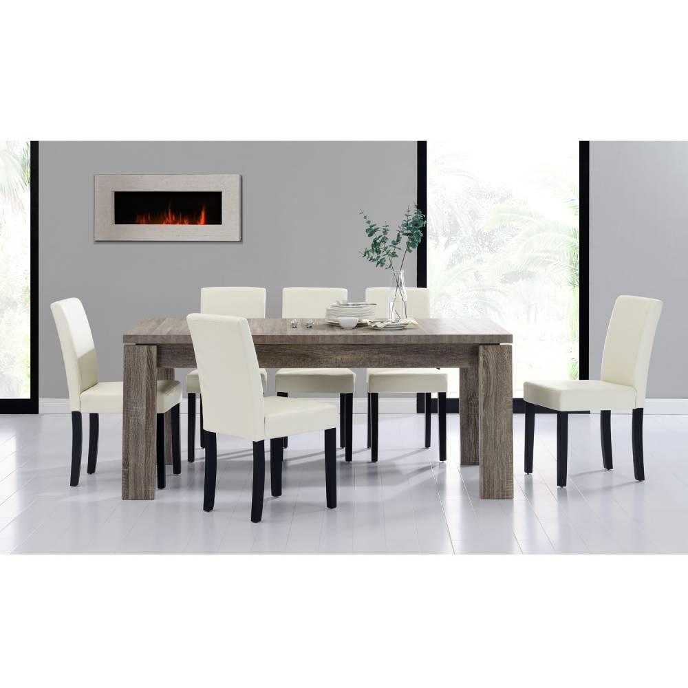 [en.casa]® Rustikálny dubový jedálenský stôl so 6 stoličkami - sivý stôl - krémové stoličky