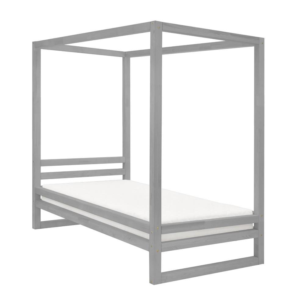 Sivá jednolôžková posteľ z borovicového dreva Benlemi Baldee, 90 × 200 cm