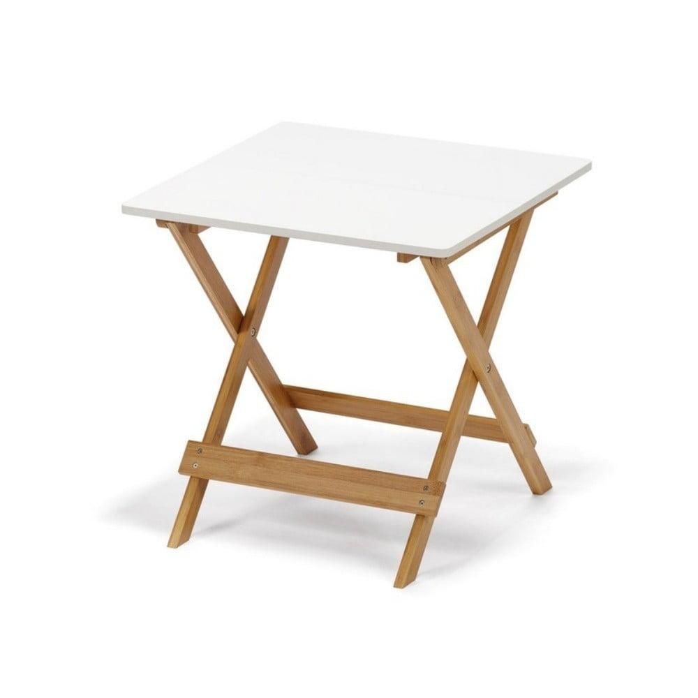 Biely sklápací stolík s bambusovými nohami loomi.design Lora
