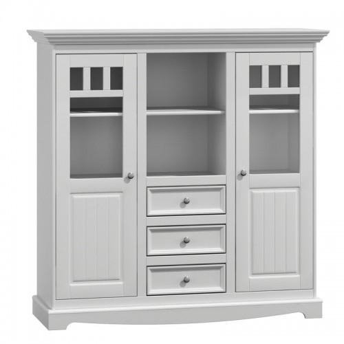 Biely nábytok Priestranná vitrína Belluno Ellegante 2.2.3, biela, masív, borovica