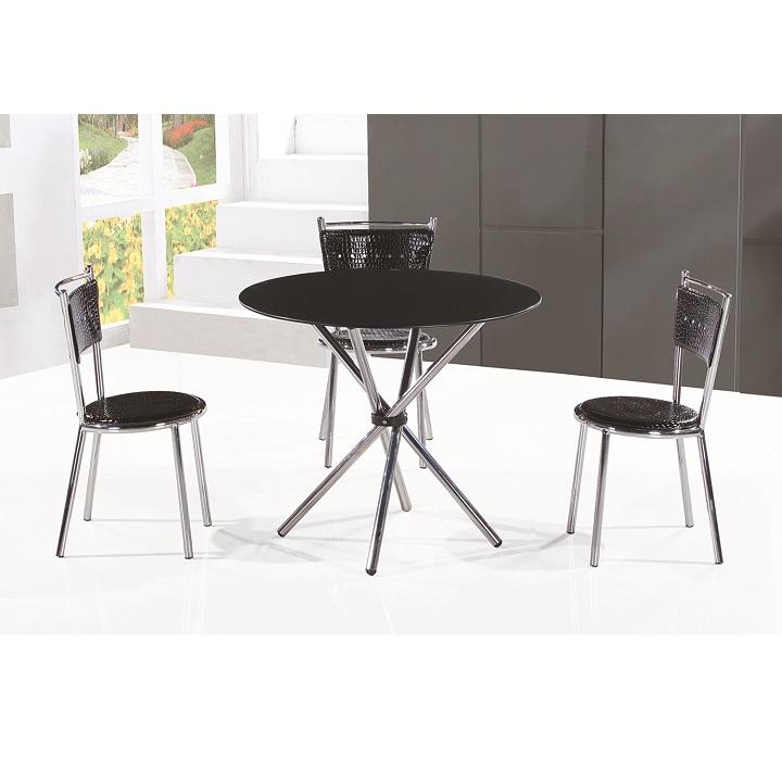 TEMPO KONDELA Jedálenský stôl, tvrdené sklo/oceľ, čierna, LAMAR